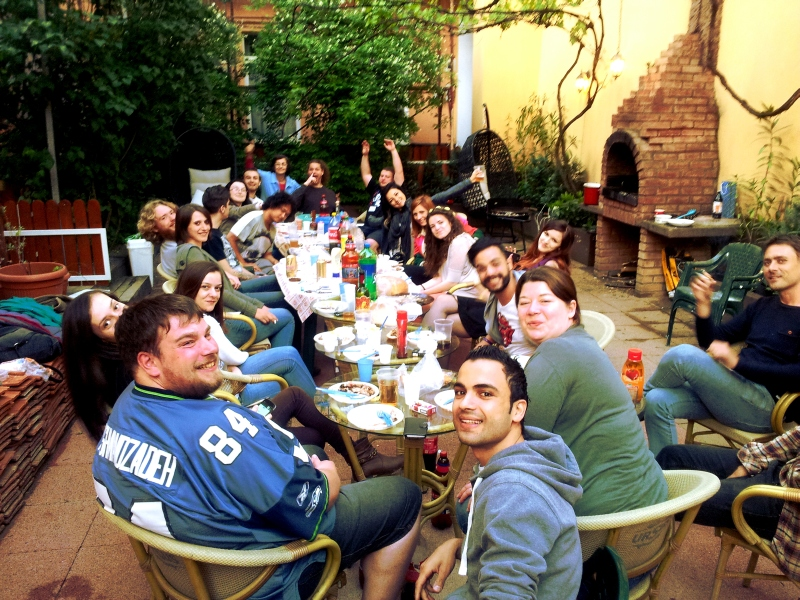Backpackers gathered in the Cluj Hostel garden2